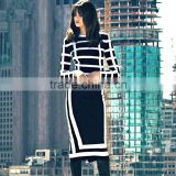 2015 New Luury Black and White Women Long Sleeve bodycon party dresss sey Knee-length Bandage Dress wholesale drop ship