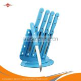 ZY-B1102A 5pcs 4.5-inch 3-rivet blue PP handle stainless steel paring knife fruit knife set with PP stand