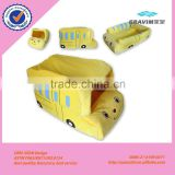 China manufacture plush yellow and red colorful bus car shape pet bed pet house for pet dog and cat