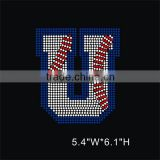 Bling baseball capital letter U Iron On motif Rhinestone Transfer For men's shirts