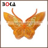 Hot Sale butterfly design embroidery motif polyester applique for garment decoration
