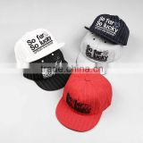 Fashion Trendy So Far So Lucky 3D Embroidery Striped Kids Baseball Hats                                                                         Quality Choice
