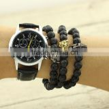 BRA1295 Hot Sale Black Lava Beaded Men Bracelet,Lion / Leopard / gladiator Head bracelet for male                                                                         Quality Choice