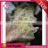 Hight quality gold embroidery lace trim george lace with beads for dress                                                                         Quality Choice