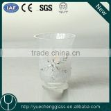 Snowflake decoration frosted glass votive hurricane lantern lamp candle holders manufacturer