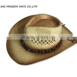 lala paper hand weave straw hats with painting cowboy style