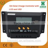 Promotion Price!12V 24V 10A PWM solar charge controller with LCD and USB