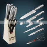 Free shipping 7 piece stainless steel kitchen knife set with wooden block kitchen knives set