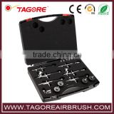 Tagore TG120K Dual Action Gravity Feed Body Paint Temporary Tattoo Master Airbrush Kit with 6 Airbrushes