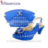 OEM handmade blue/yellow/green party use wholesale shoe and bag set for women