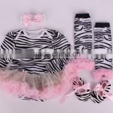2015 children Chrismas baby long sleeves tutu yarn romper& headbands &shoes and leg warmer sets ( 4 in 1)