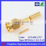 RF connector Reverse Polarity SMA male body with female pin crimp straight type for RG316 cable