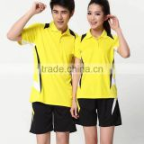 2015 fashion style badminton wear new design top quality badminton shorts and jersey