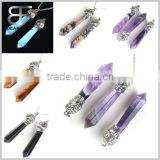 Opal Quartz Long Point Pendulum Pendant with Silver Cap,Hexagon Healing Crystal Quartz Pendulum Skull pendants                                                                         Quality Choice