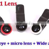 OEM Universal clip 3 In 1 wide Angle Macro Fisheye Mobile Phone Camera Lens For iPhone 4S 5S 6 For Samsung