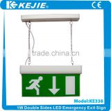 2016 New and High quality Hanging 1W (14pcs) LED emergency exit sign with self-testing for European standard                                                                         Quality Choice