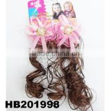 cute babies curly human hair wig with flower hair clip