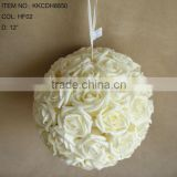 "2015 Popular Artificial PE Flower 12"" Artificial PE Wedding wihte Rose Hanging Ball"