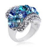 Victoria Wieck Rings 18k White Gold GP Blue Austrian Crystal Engagement Ring