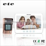 ETE 10 inch high resolution monitor 160 Degree Angle door bell intercom system with password and ID card unlocking