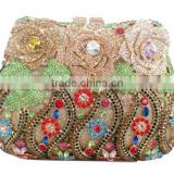 2015 Top Selling Unique Fashion Lady Party Satin Evening hand-made Clutch Bags with colorful crystals