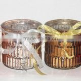 glass candle jar in bamboo shape with electroplate inner and colorful surface, decorate with silk ribbon, candle holder