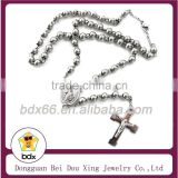 High Quality Catholicism Rosary Jewelry Stainless Steel 6MM Rosary Bead Crucifix Prayer Necklace With Virgin Mary & Jesus Cross