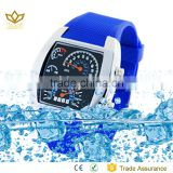 Hot selling blue silicon strap alloy watch case 50 meters water resistant women watch sport watches