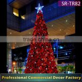 Customize 5m 6m 8m 9m 12m 15m outdoor large giant LED lighted christmas tree with bow decoration for plaza