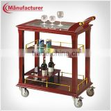 Restuarant Three-Deck Wooden Liquor Service Cart Trolley and Price /Beverage Trolley/Food Trolley