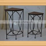 S/2 antique corner wrought iron plant stand