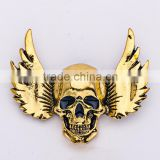 46*43mm Newest Costume Jewelry Demon Wing Carved Halloween Rhinestone Skull Brooches
