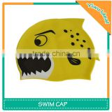Yellow Animal Print Children Silicone Fish Swim Cap