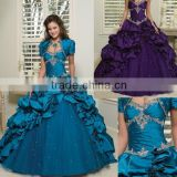 2013 short sleeve appliqued beaded sweetheart purple custom-made ball gowns CWFab4468