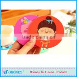 Wholesale various colors round cut cup mat,FDA/LFGB standard romany cup cushion fashion silicone cup mat cup holder