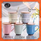 Porcelain Ceramic Type and Mugs Drinkware Type Ceramic Mug wit,Promotional full printing Porcelain mug with bamboo lid and spoon