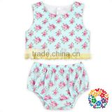 Summer New Fashion Children 2Pcs Cotton Bloomer Set Flower Cheap Baby Girls 2 Pcs Outfits