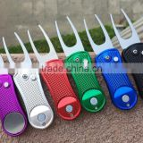 New Custom Aluminum handle Folding Golf Divot Repair pitch Tool with ball marker,golf pitch fork