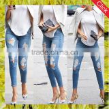 Light blue female skinny ankle colombian scratch pants women's elastic denim damaged jeans leggings wholesale