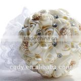 Handmade gifts decoration wedding artificial fabric hydrangea flower bridal bouquet with crystals