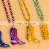 yiwu cheap price festival christmas santa metalic beads necklace with boots pendant