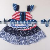 baby summer dress flutter sleeve printing National Day clothing star pattern ribbon baby summer dress children clothing 2017