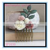 XP1030 Factory wholesale price anti-bronzed flower bridal hair comb wedding rose floral leaf bridal hair accessories