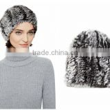 YR410 Girls winter Elastic Chinchilla dyed color Hand Knitted Real Rex Rabbit Fur Beanie Hat