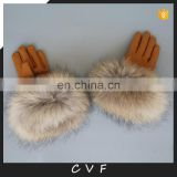 Luxury real raccoon fur genuine leather gloves winter gloves for women