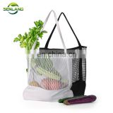 Eco-friendly Organic Cotton shopping bag Fruit and vegetable shoulder cotton mesh bag long hand-held cotton mesh bag