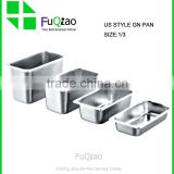 Restaurant Hotel Supplies Full Size Deep Metal Food Pan Stainless Steel Gastronorm Pan With Handles                                                                         Quality Choice