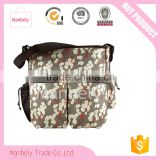 floral pattern canvas mummy bag baby diaper bags with large capacity