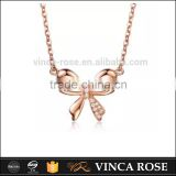 classic design bowknot butterfly diamond 18K rose gold chain jewelry necklace
