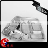 School lunch box,stainless steel lunch plate,serving tray with compartments for canteen